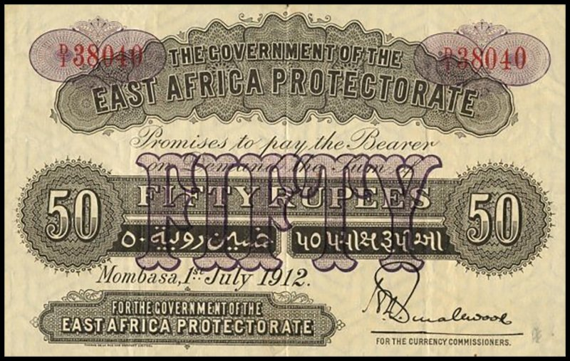 East Africa 50 Rupees Banknote, 1912, P-4