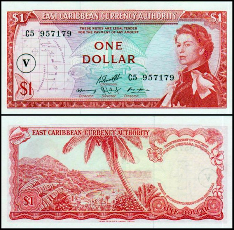 East Caribbean States 1 Dollar Banknote, 1965, P-13o