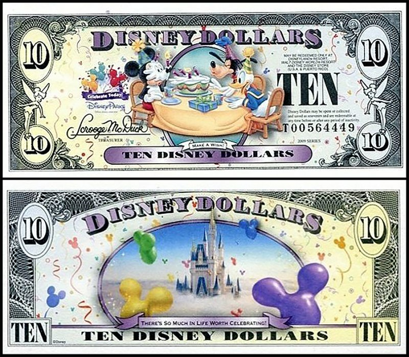 Fantasy Issues 10 Disney Dollars, 2009, P-US237