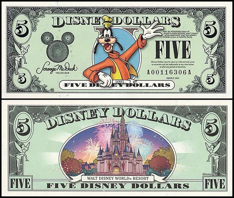 Fantasy Issues 5 Disney Dollars, 2003, P-US222