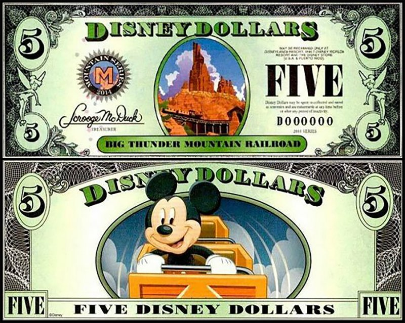 Fantasy Issues 5 Disney Dollars, 2014, P-US317