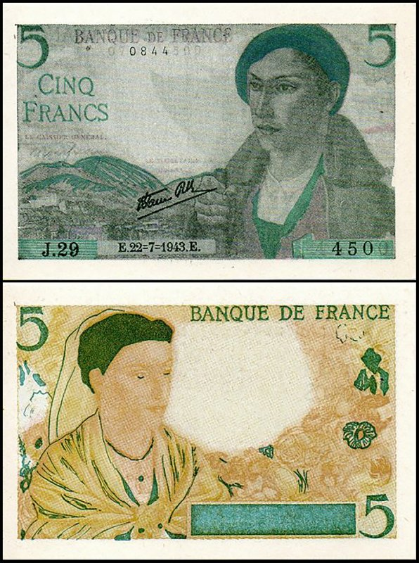 Fantasy Issues 5 Francs, 1943, P-SCO-5