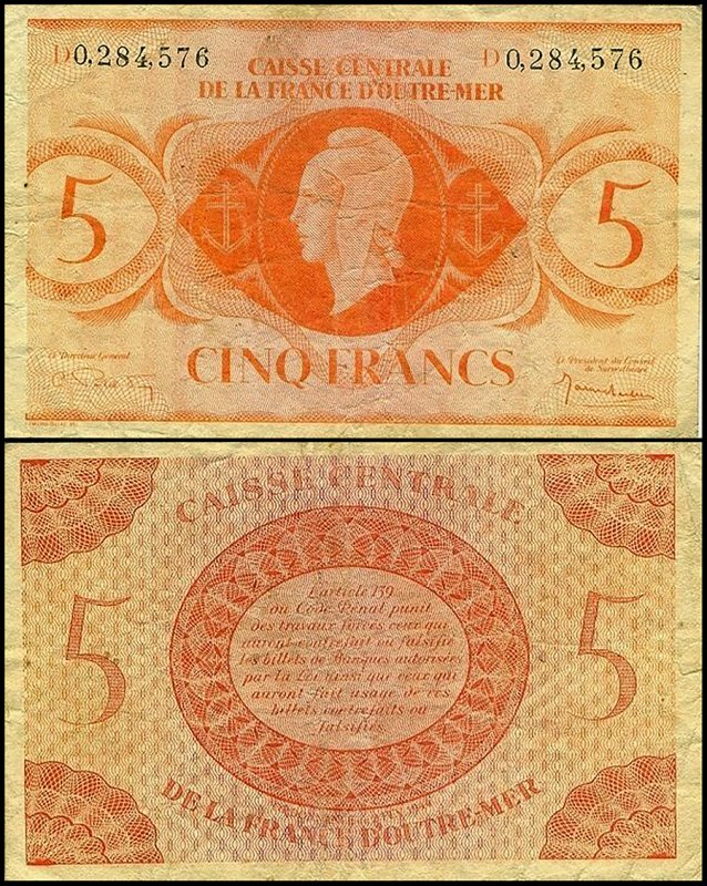 French Equatorial Africa 5 Francs, 1944, P-15g