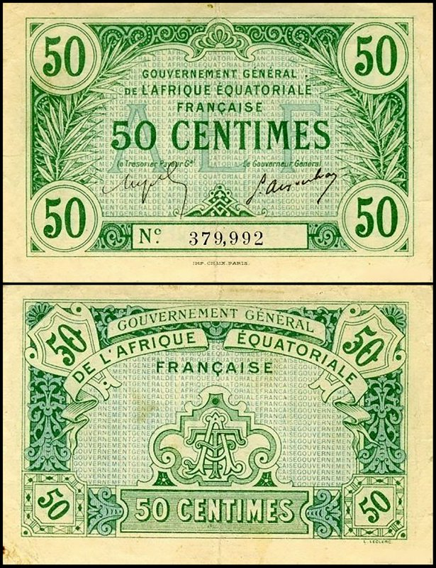 French Equatorial Africa 50 Centimes, 1917, P-1a