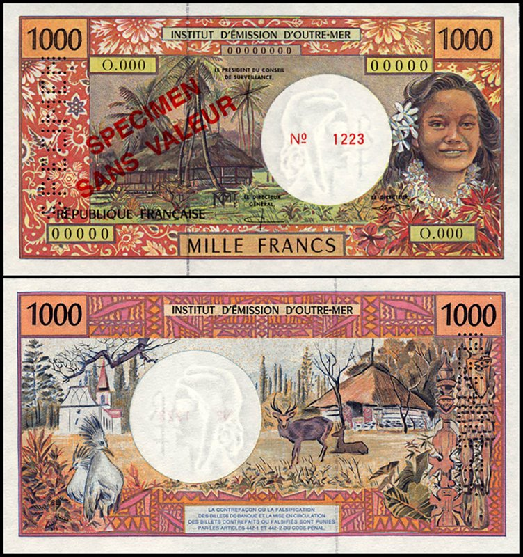 French Pacific Territories 1,000 Francs, 2000, P-2s