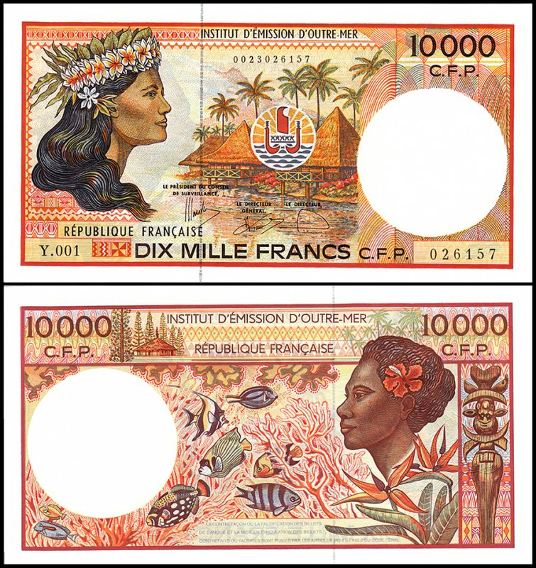 French Pacific Territories 10,000 Francs, 2009, P-4f