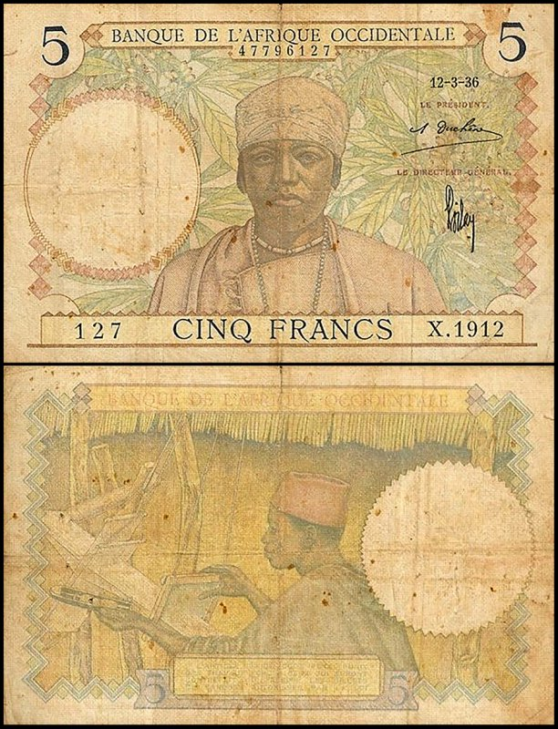 French West Africa 5 Francs, 1936, P-21a.3