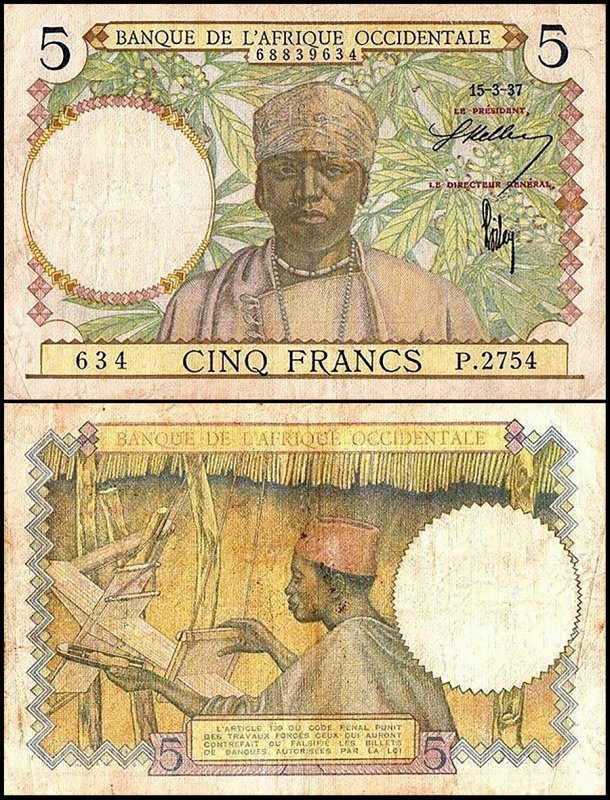 French West Africa 5 Francs, 1937, P-21a.4