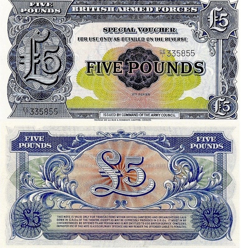 Great Britain/England 5 Pounds Banknote, 1958, P-M23