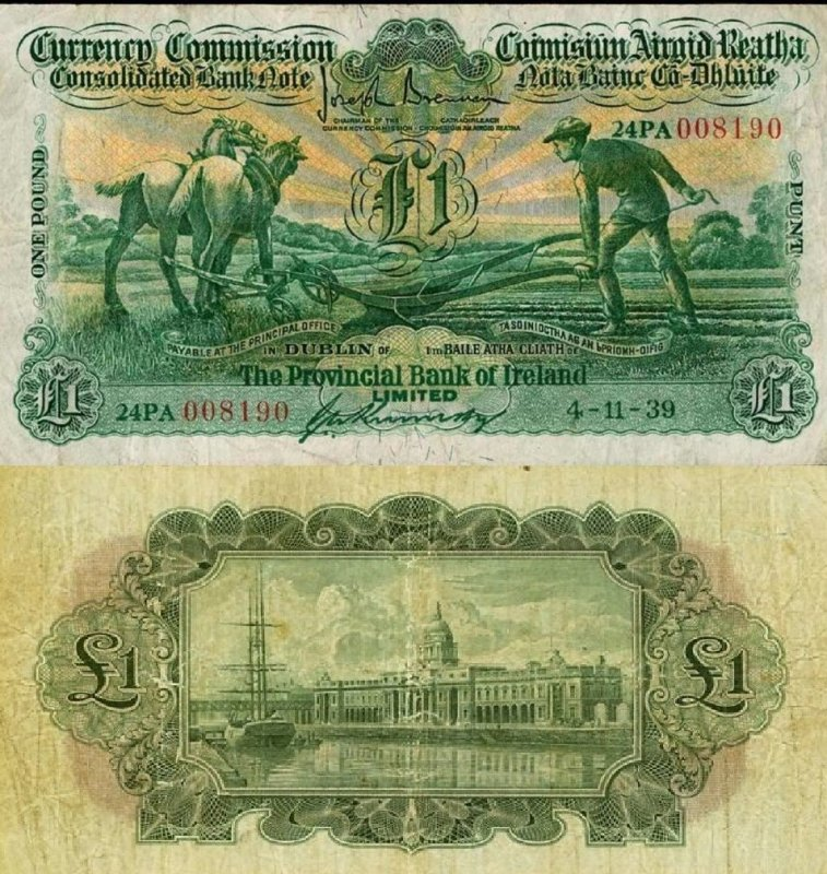 Ireland/Republic 1 Pound Banknote, 1939, P-38c