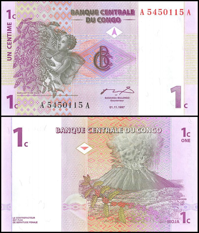 1 Centime Congo's Banknote