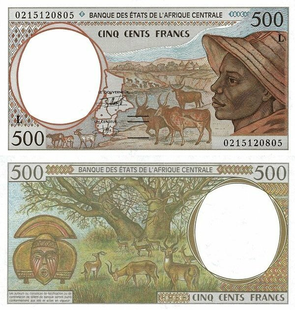 Central African States 500 Francs Banknote, 2002, P-401Lh
