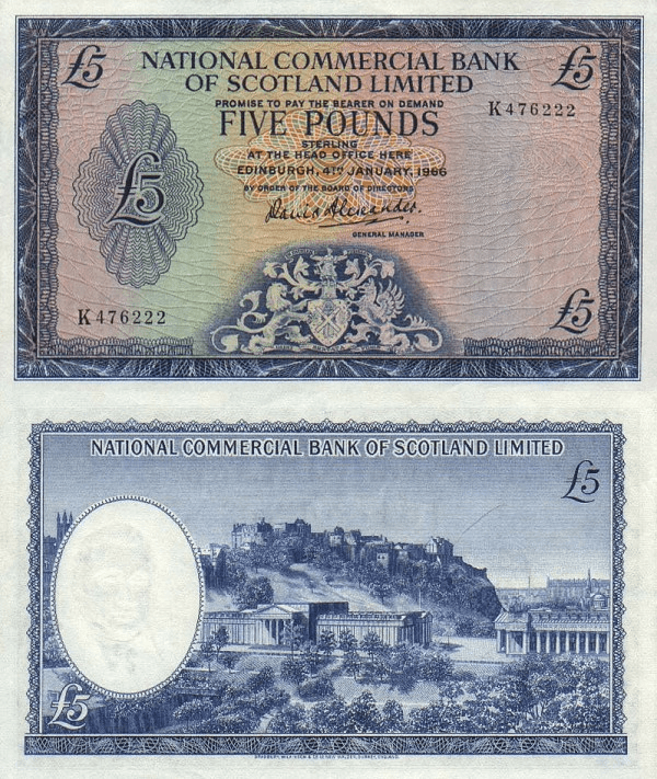 Scotland 5 Pounds Banknote, 1966, P-272