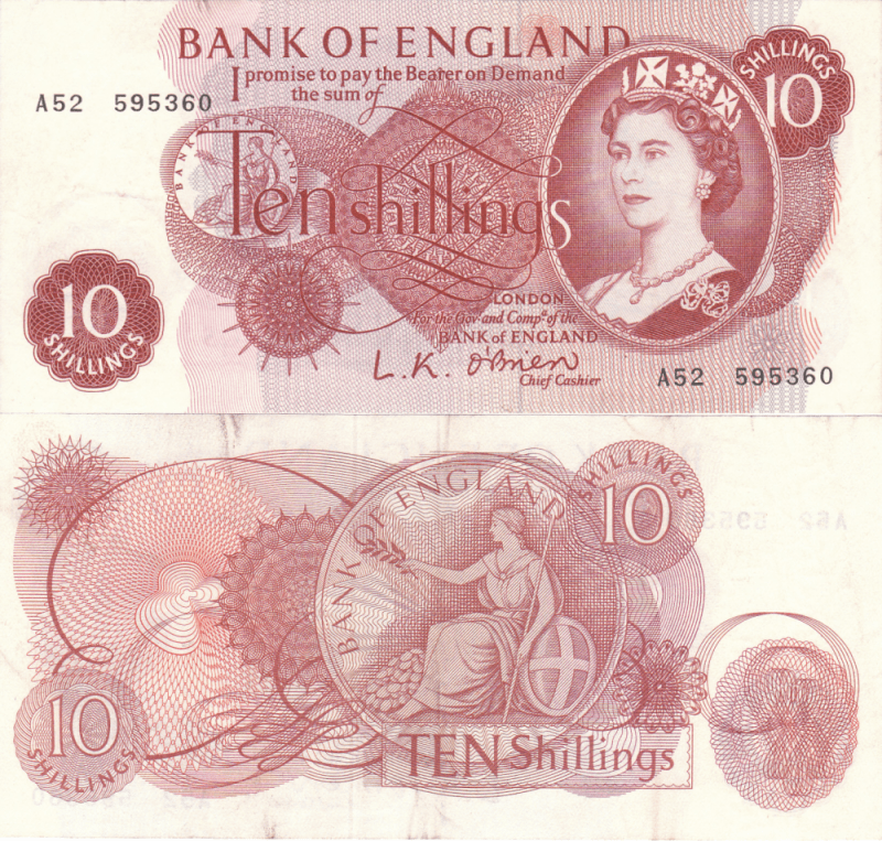 Great Britain/England 10 Shillings Banknote, 1961, P-373a
