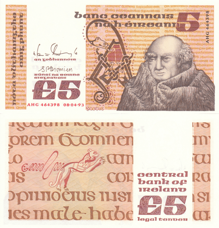 Ireland/Republic 5 Pounds Banknote, 1993, P-71e