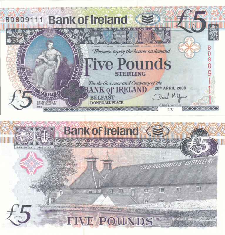 Ireland/Northern 5 Pounds Banknote, 2008, P-83