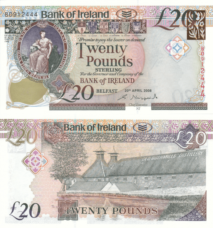 Ireland/Northern 20 Pounds Banknote, 2008, P-85