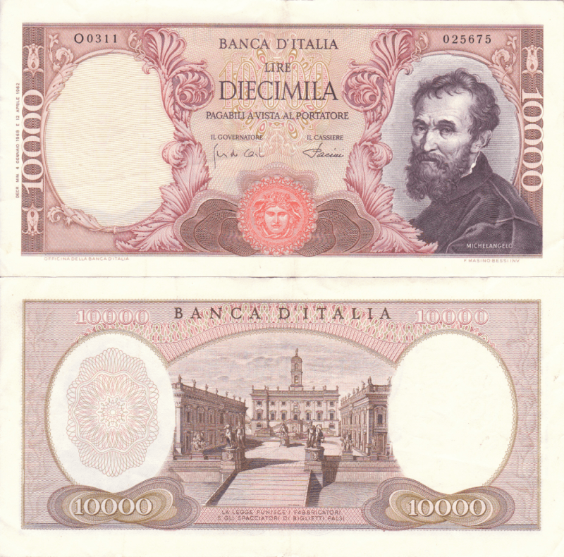 Italy 10,000 Lire Banknote, 1962, P-97a