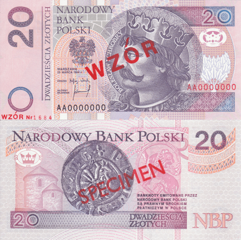 Poland 20 Zlotych Banknote, 1994, P-174s