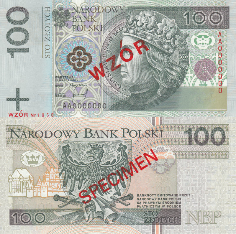 Poland 100 Zlotych Banknote, 1994, P-176s.1