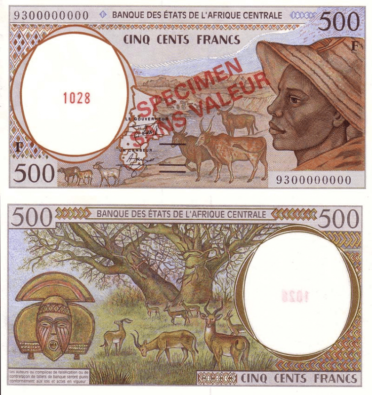 Central African States 500 Francs Banknote, 1993, P-301Fas
