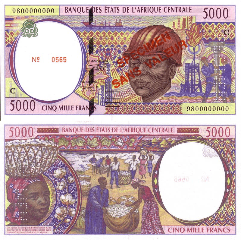 Central African States 5,000 Francs Banknote, 1994, P-104cas