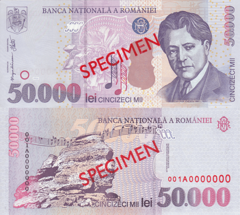 Romania 50,000 Lei Banknote, 2000, P-109As