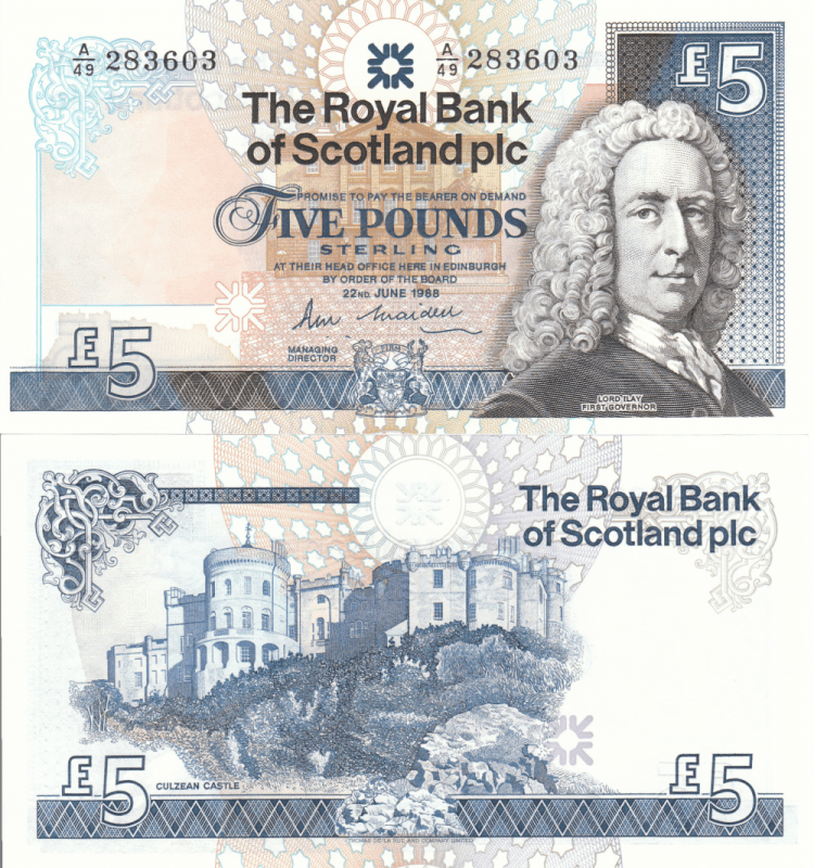 Scotland 5 Pounds Banknote, 1988, P-347