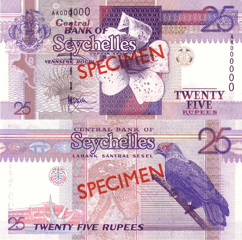 Seychelles 25 Rupees Banknote, 1998, P-37s