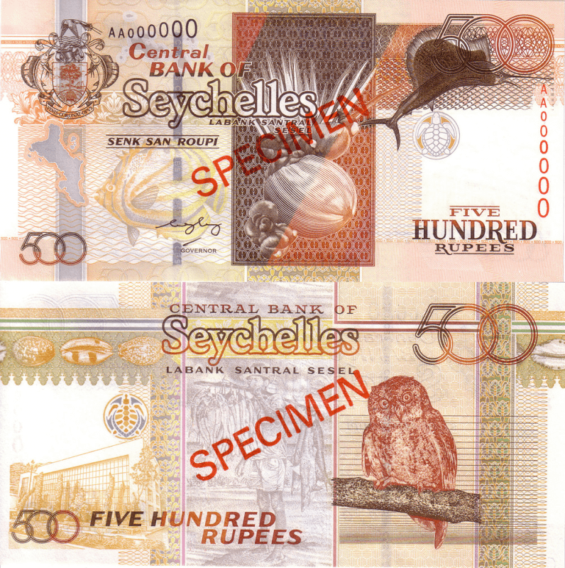 Seychelles 500 Rupees Banknote, 2005, P-41s