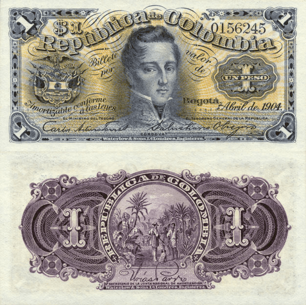 Colombia 1 Peso Banknote, 1904, P-309