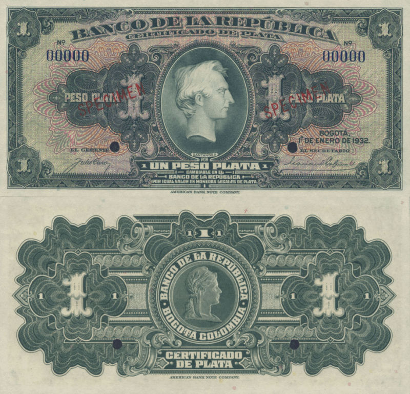 Colombia 1 Peso Banknote, 1932, P-382s