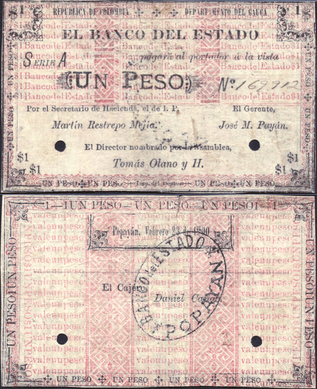 Colombia 1 Peso Banknote, 1900, P-S481a