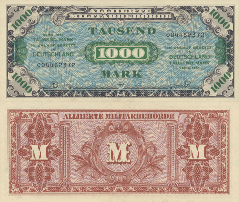 Germany 1,000 Mark Banknote, 1944, P-198a