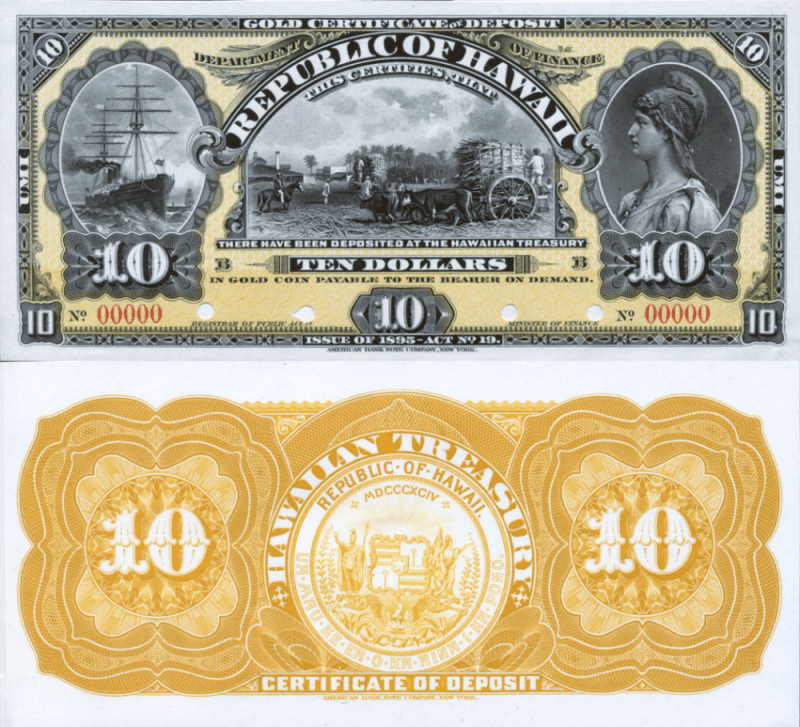 Hawaii 10 Dollars Banknote, 1895, P-7p