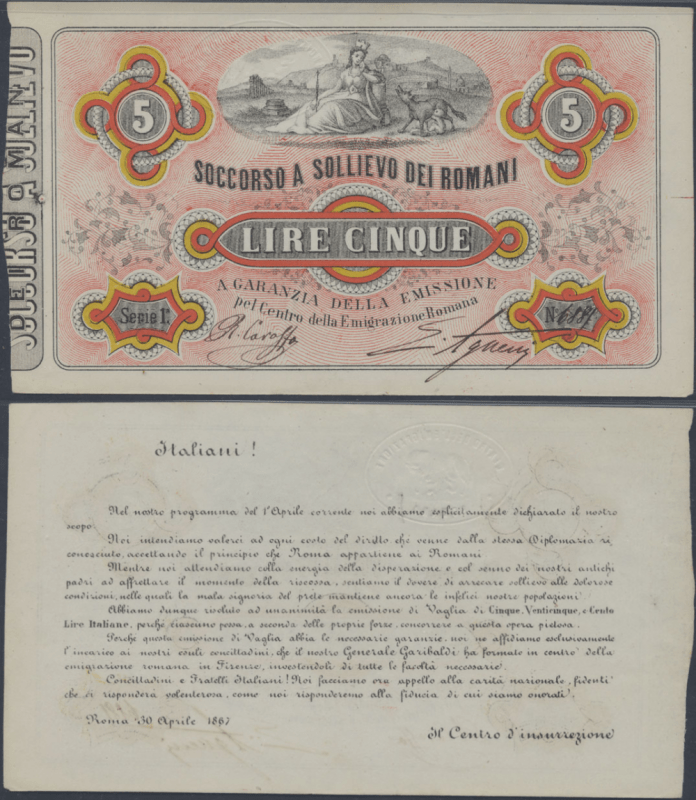 Italy 5 Lire Banknote, 1867, P-UNLISTED