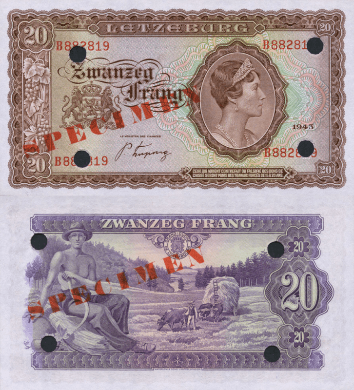 Luxembourg 20 Francs Banknote, 1943, P-42s