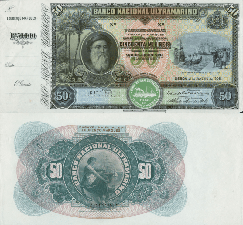 Mozambique 50,000 Reis Banknote, 1908, P-29Bs