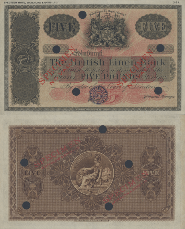 Scotland 5 Pounds Banknote, 1916, P-152s