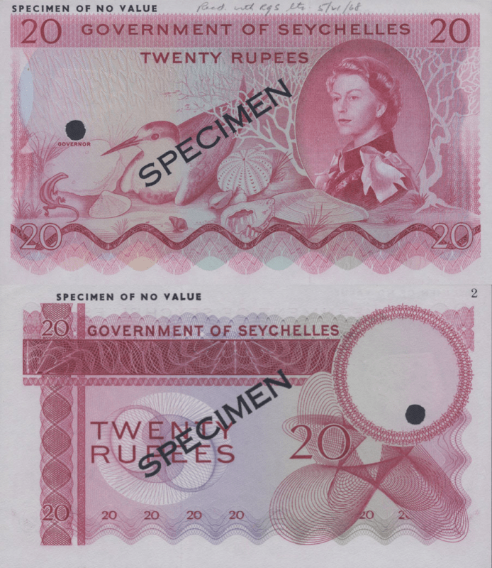 Seychelles 20 Rupees Banknote, 1968, P-16s