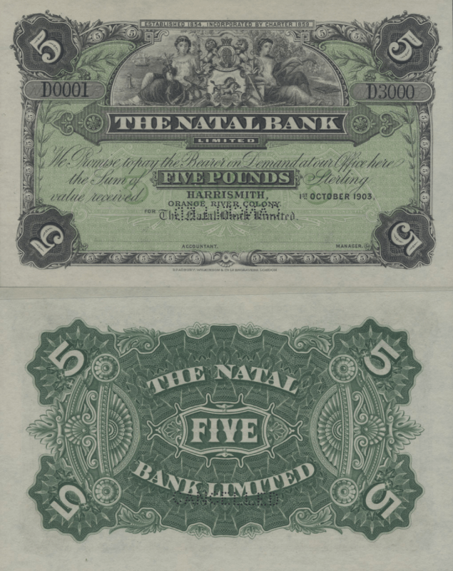 South Africa 5 Pounds Banknote, 1903, P-S465Bs