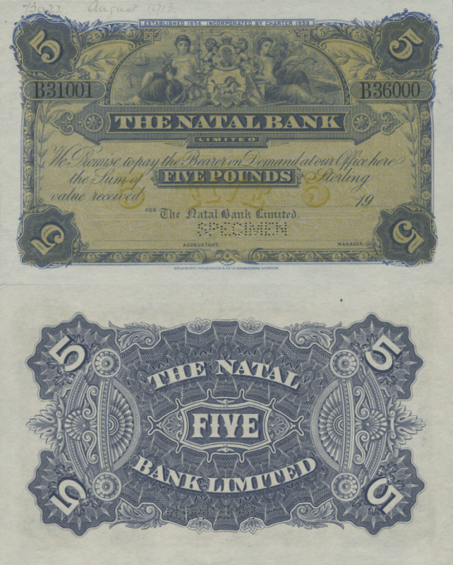 South Africa 5 Pounds Banknote, 1900, P-S488s