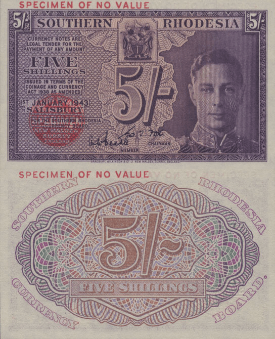 Southern Rhodesia 5 Shillings Banknote, 1943, P-8s