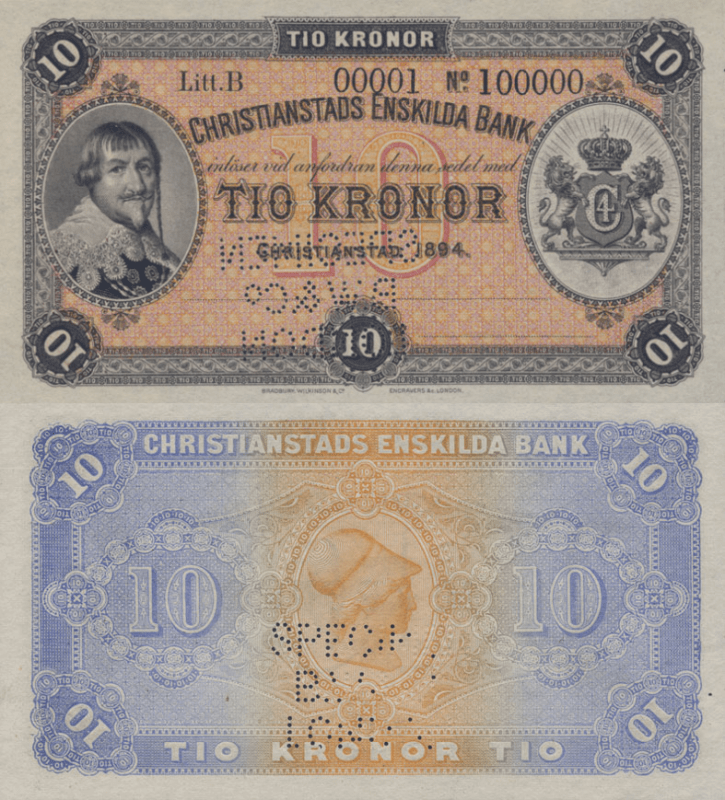 Sweden 10 Kronor Banknote, 1894, P-S131As