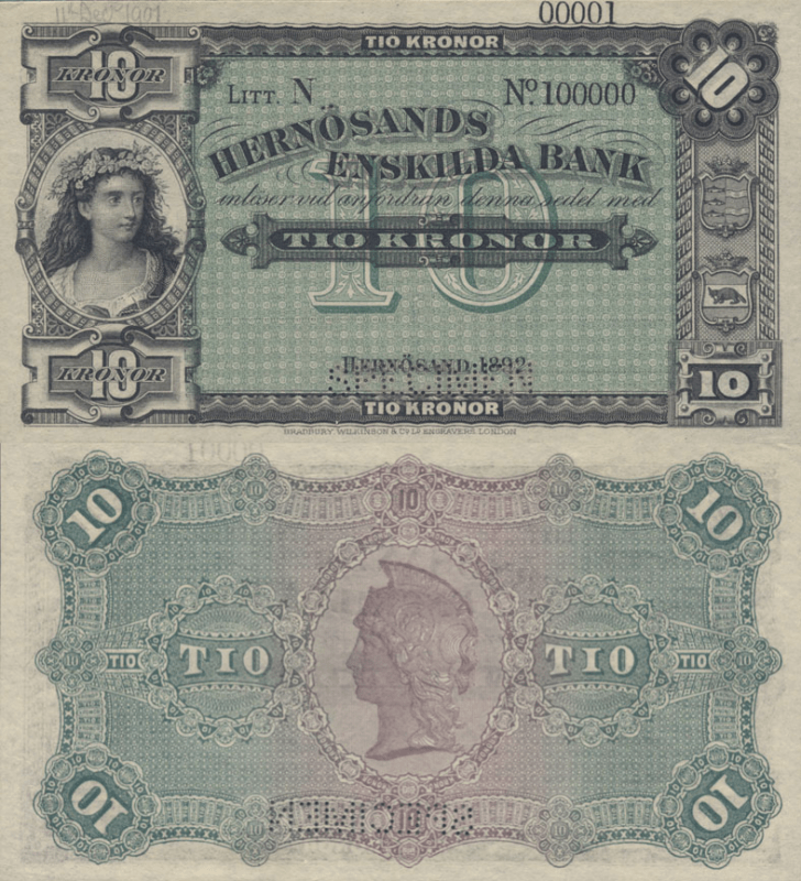 Sweden 10 Kronor Banknote, 1892, P-S279s