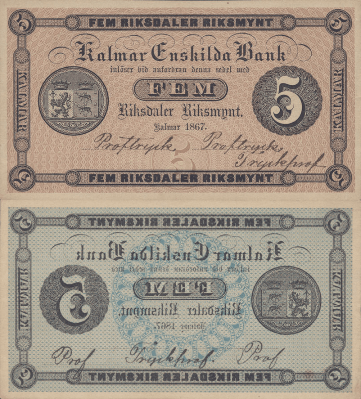 Sweden 5 Kronor Banknote, 1867, P-S281