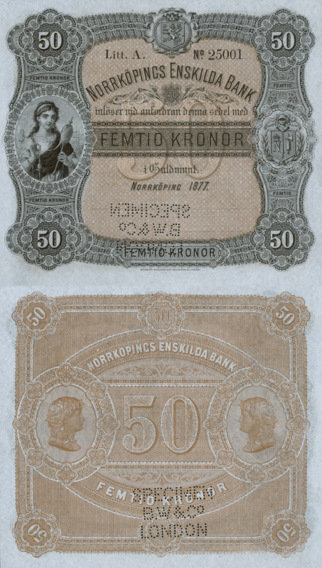 Sweden 50 Kronor Banknote, 1877, P-S363s