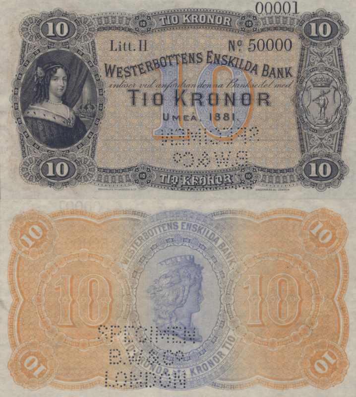 Sweden 10 Kronor Banknote, 1881, P-S708s