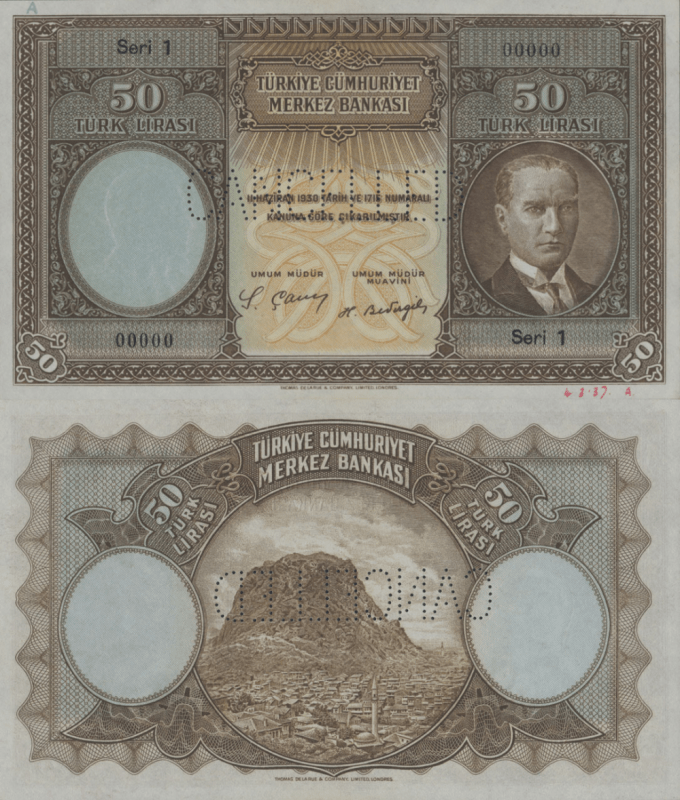 Turkey 50 Lira Banknote, 1937, P-UNLISTED