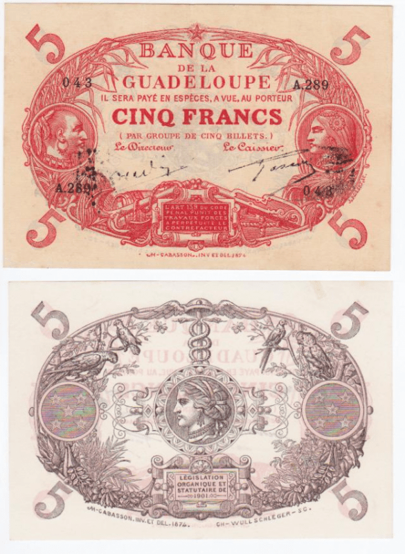5 Francs Guadeloupe's Banknote